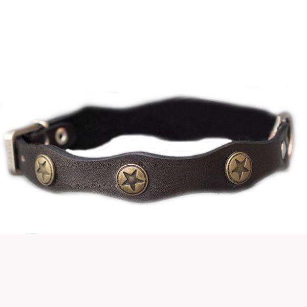 Wavy Shape Retro Style Pet Dog Leather Collar With Bronze Decoration