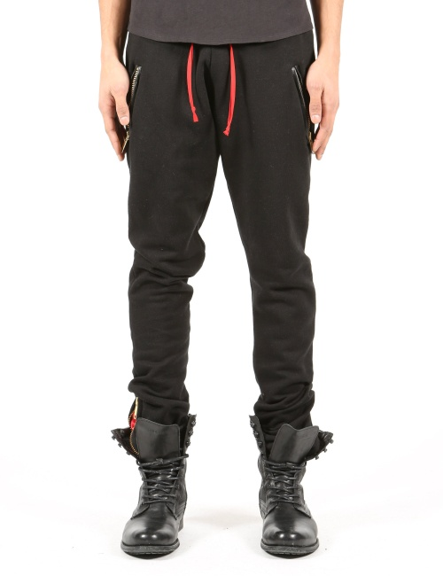 Army Organic Bamboo Front Leather Zipper Jogger Pants