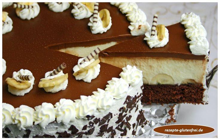 Schoko-Bananen-Torte! Ein himmlischer Genuss aus zartem Biskuit, Bananen, Puddingcreme und Schokospiegel!