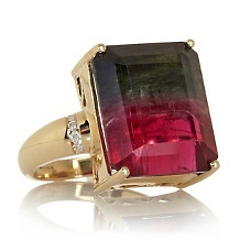 Rarities 14K Bi-Color Tourmaline and Diamond Ring....Lovely!!!!