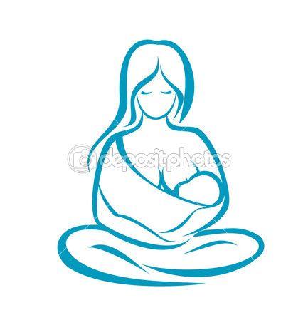 mãe segurando bebê no sling, símbolo de vetor