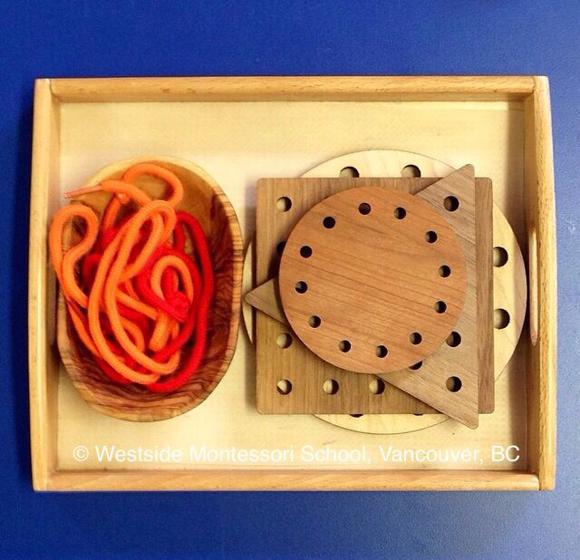 Montessori Practical Life activity - Lacing! We love these lacing cards. The children use shoelaces to practice their lacing skills. @wmswms (Westside Montessori School, Vancouver, BC)