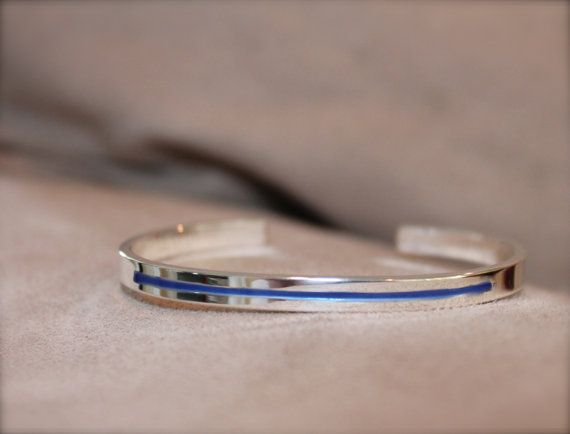 ... Thin blue line bracelet Sterling silver by KittyStoykovich, $85.00