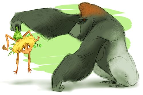 """A piece for yesterday's Sketch Dailies theme, """"Tarzan"""". Gorillas are pretty awesome."""