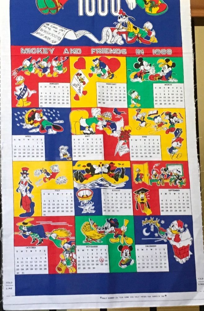 Walt Disney Co Calendar Fabric 1988 Mickey And Friends Peter Pan Fabric DIY  #WaltDisney