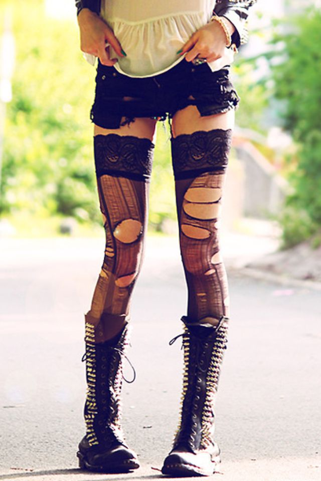 ☯☮ॐ American Hippie Bohemian Style ~ Be Daring . . Lace Boots and shredded leggings! #bohemian #tights