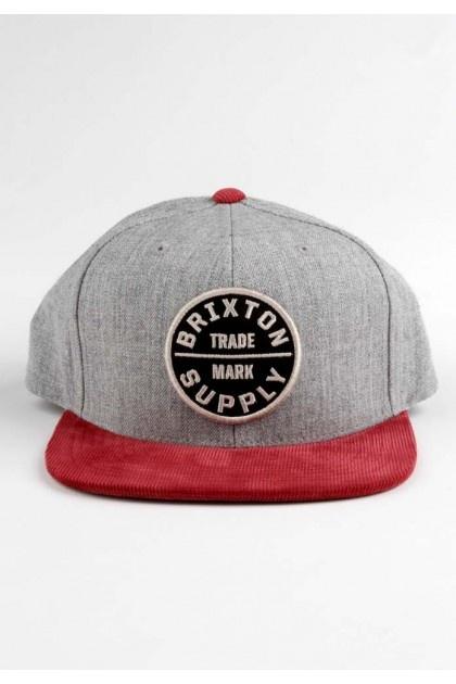 Brixton Clothing Oath III Snapback Hat - Grey/Burgundy $28.00 #brixton