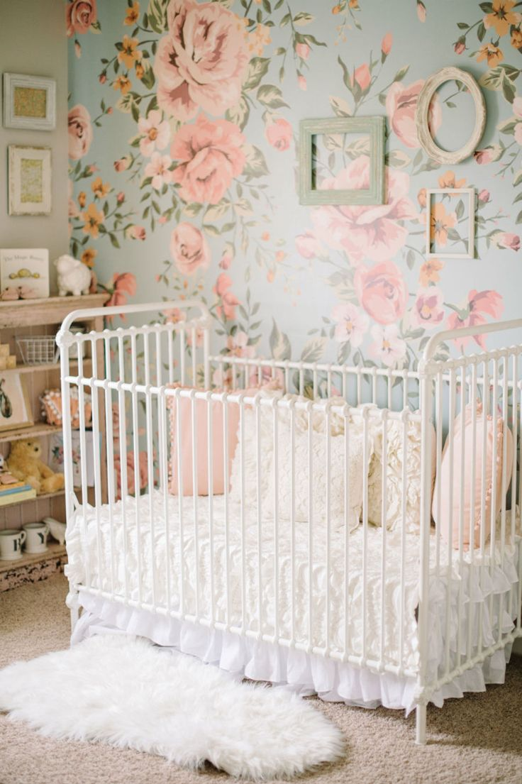 An Iron Crib Fl Wallpaper And Sweet Vintage Details In This Baby S Nursery Photographer