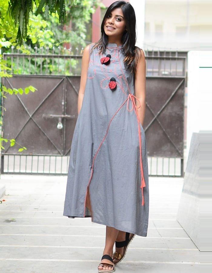 Indigo Layered Kurta Anarkali Blockprint Fashion Womenswear