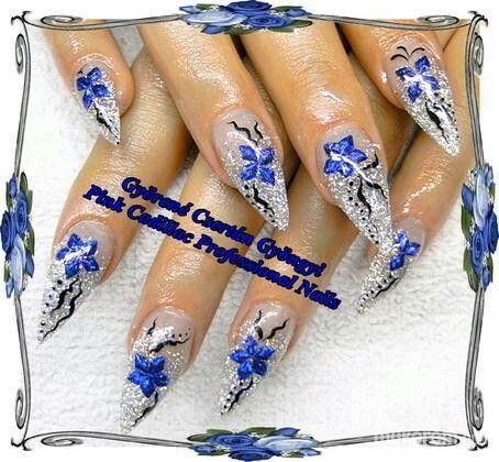 Blue and silver nail