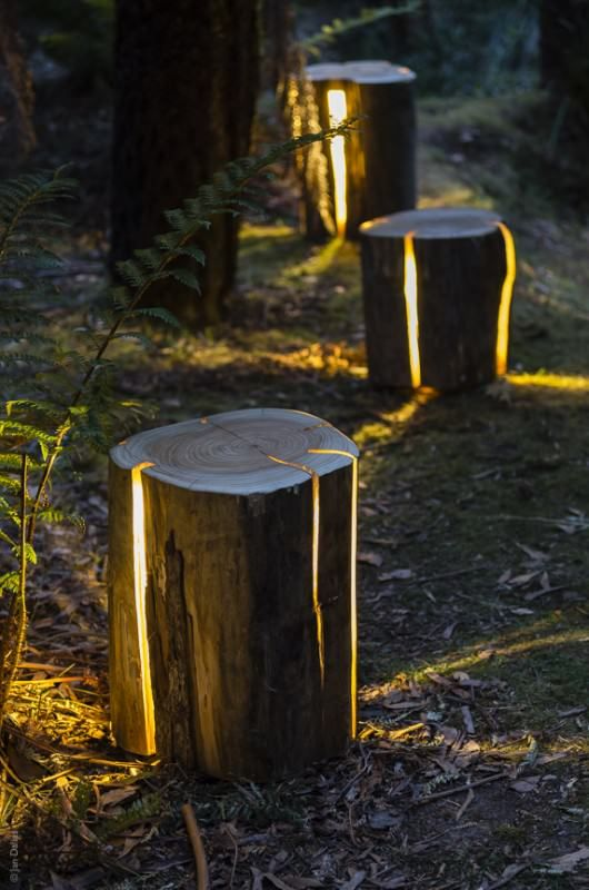 """Duncan Meerding is a 27 year old Designer who have made these amazing and unique """"Cracked Log Lamps"""". The lamps are made from salvaged logs which would otherwise have been burnt. These lamps embrace, rather than avoid the naturally occurring cracks in refuse logs. By turning them into a vessel for light, we can bring the outside in, and be reminded of our intrinsic connection with nature. Beautiful lamp that could enlighten your garden at night in a very romantic way :)"""