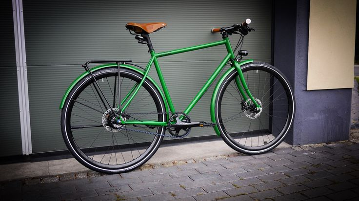 Veloheld.lane commuter bike in pearlgreen with Brooks parts and Gates Carbon Drive
