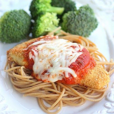 Skinny Chicken Parmesan        This is a great recipe - BUT - what makes it even better is substituting the bread crumbs for crushed up corn flakes cereal! When you coat the chicken with the cereal and bake it the end result is what tastes and looks like fried chicken!! Only so much healthier!