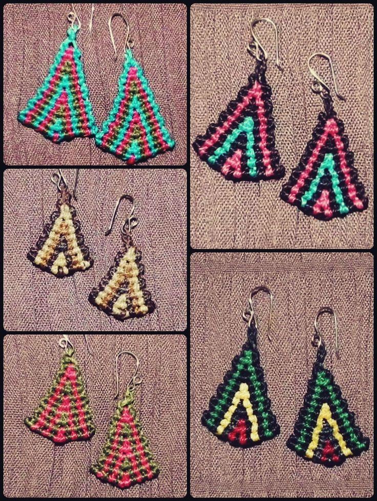 Aros tejidos triangulares  #aros #triangulo #macrame #colores