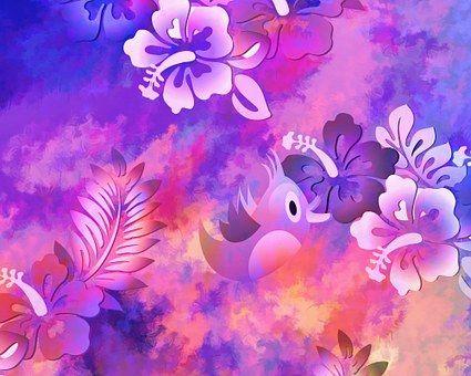 Abstract, Flowers, Bird, Artwork