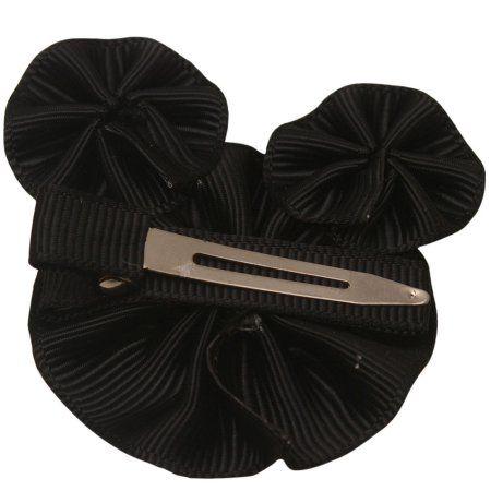 Girls Black Red Dot Bow Cute Minnie Shape Grosgrain Alligator Hair Clippie