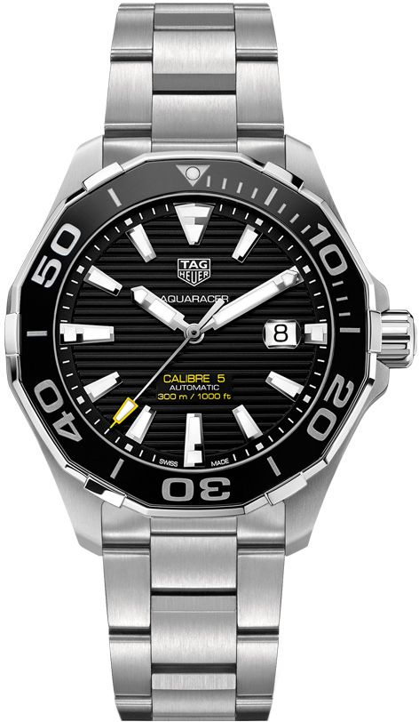 TAG Heuer Aquaracer WAY201A.BA0927 300m Calibre 5 Ceramic Bezel 43mm Mens Watch - Buy Now Guaranteed 100% Authentic with FREE Shipping at AuthenticWatches.com