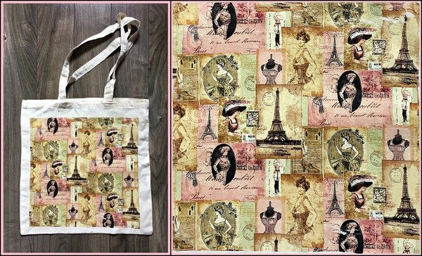 Taška plátěnka - Vintage Paris bag