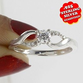 1/20 Ct Natural Diamond 14K White Gold Over Split Shank Halo Engagement Ring by JewelryHub on Opensky