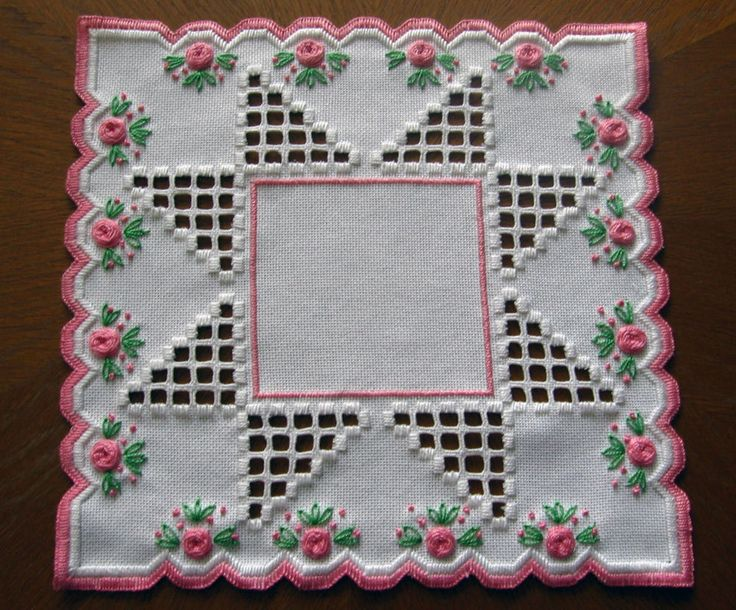Doily in Hardanger and colored embroidery *pink roses* 100%handmade & New