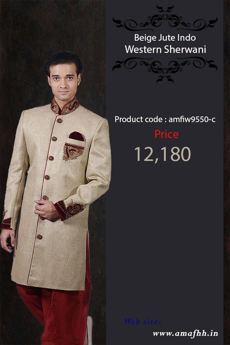 Beige Jute Indo Western Sherwani The best a man can get on his wedding day with this elegant Indowestern sherwani at an  amazing price.