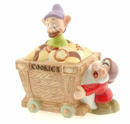 Dopey and grumpy cookie jar