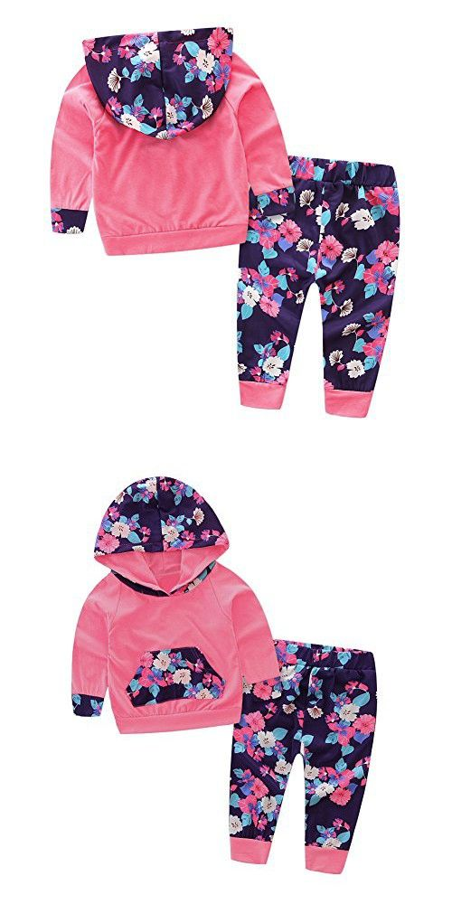 Baby Girl 2pcs Set Outfit Flower Print Hoodies with Pocket Top+Striped Long Pants (0-6M, Watermelon Red)