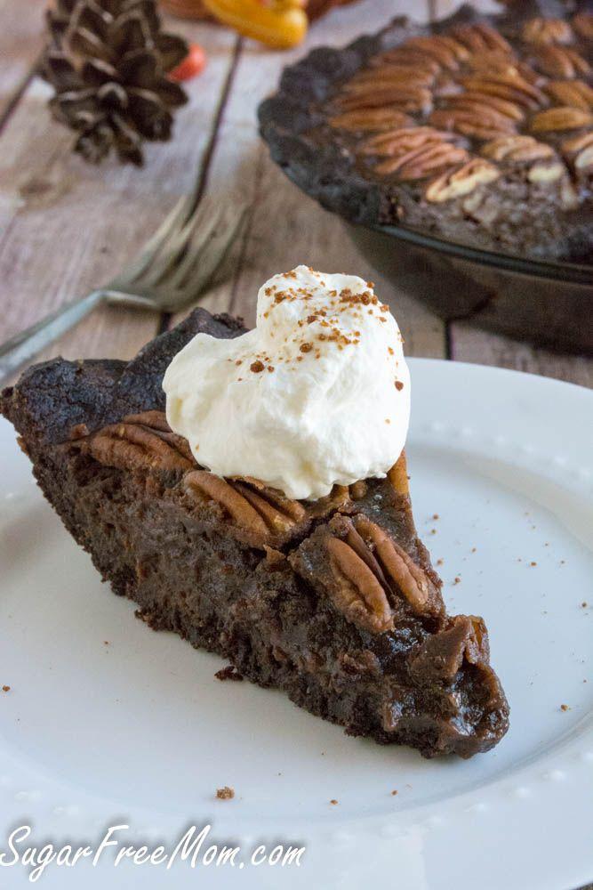 Low Sugar Low Carb Chocolate Pecan Pie on www.sugarfreemom.com