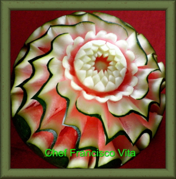 Carving of Chef Francisco Vita Find tools books and DVD's to do this at CulinarySupplies.Org located in Carroll, Iowa USA.