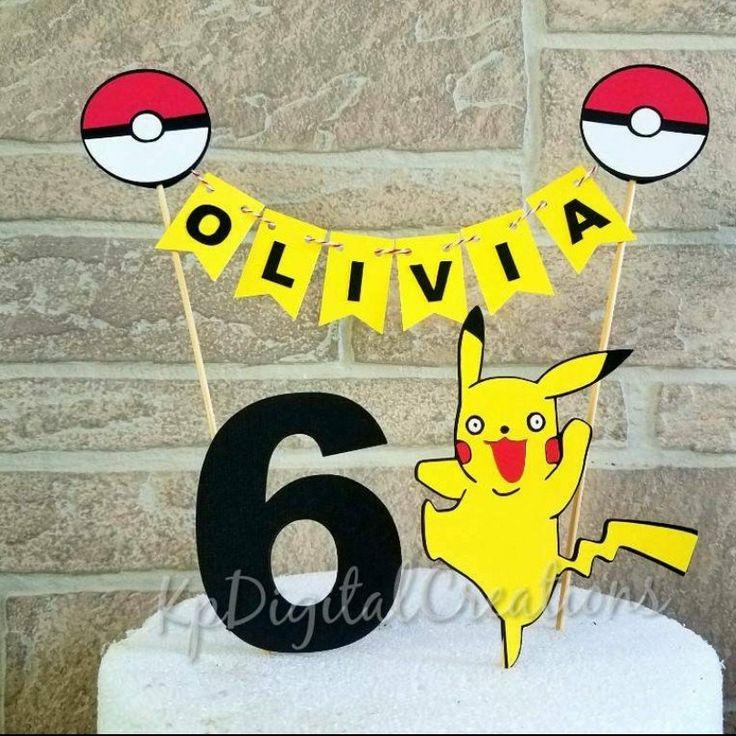 Pokemon cake topper, Pokemon birthday, Pokemon birthday party ideas, Pokemon party, Pokemon go cake topper, Pokemon go birthday, birthday cake topper for Pokemon birthday