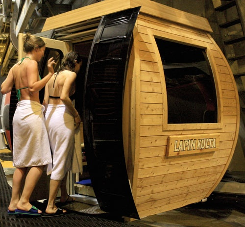 Sauna gondola in Finland - Ylläs. Cool! Or should I say hot and cool?