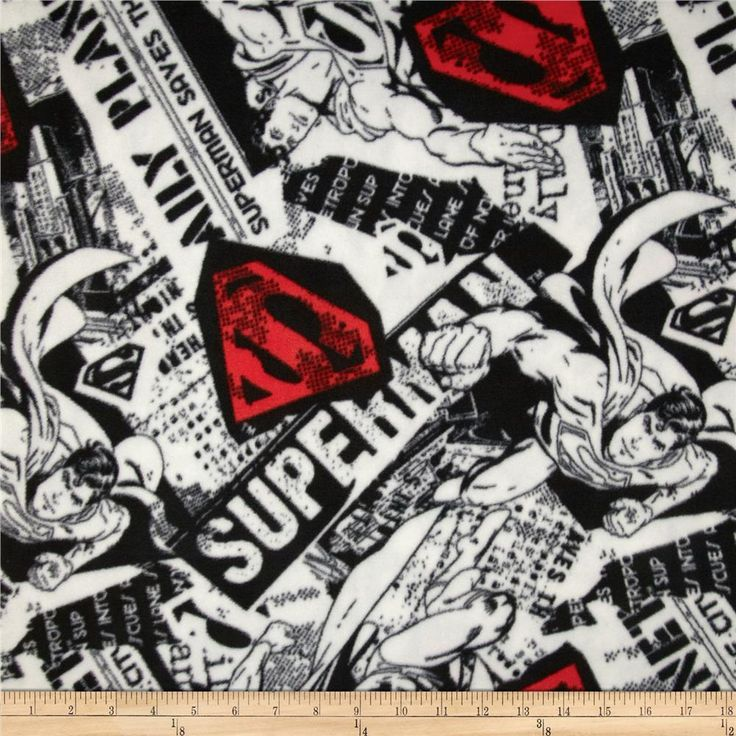 Superman Fleece Superman News Black/White/Red from @fabricdotcom  This soft, warm and cozy fleece is medium weight, double-sided and anti-pill. Perfect for throws, blankets, jackets, hats, mittens, scarves, slippers, pillows, vests, pullovers and much more! Colors include grey, black, white and red.
