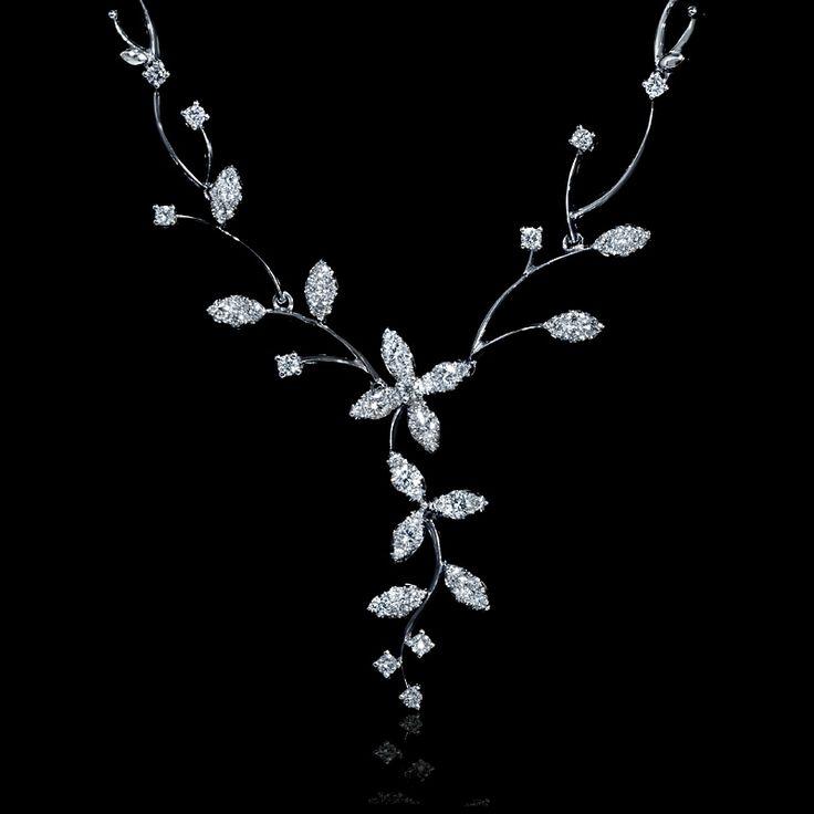 1.20ct Diamond 18k White Gold Flower Necklace