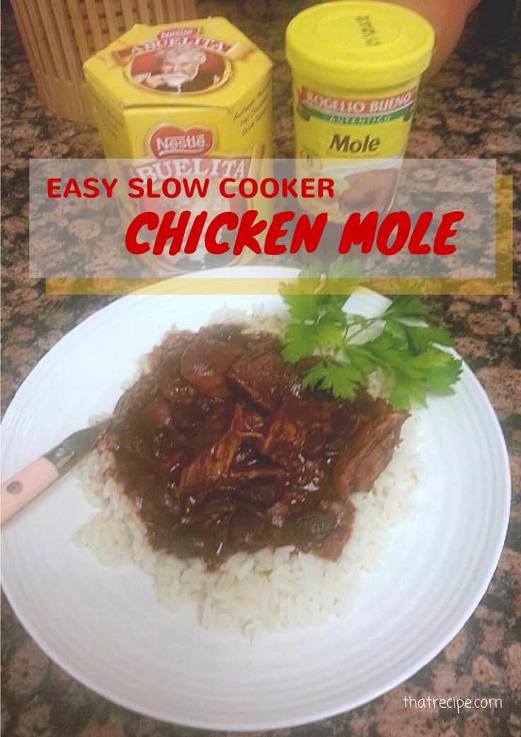 Easy Chicken Mole made in the slow cooker with prepared mole sauce and extra chocolate.