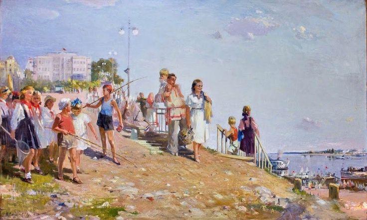 Леонтьев Валерий Александрович (Россия, 1944-2001) «Утро выходного дня в Чебоксарах»