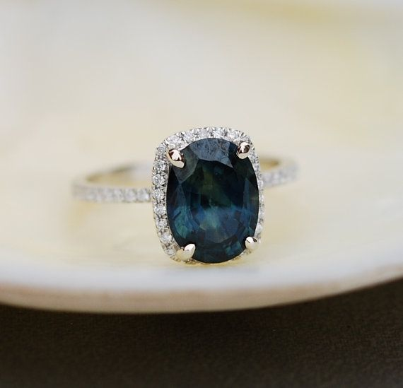 White Gold Engagement Ring 2.9ct Blue Green by EidelPrecious
