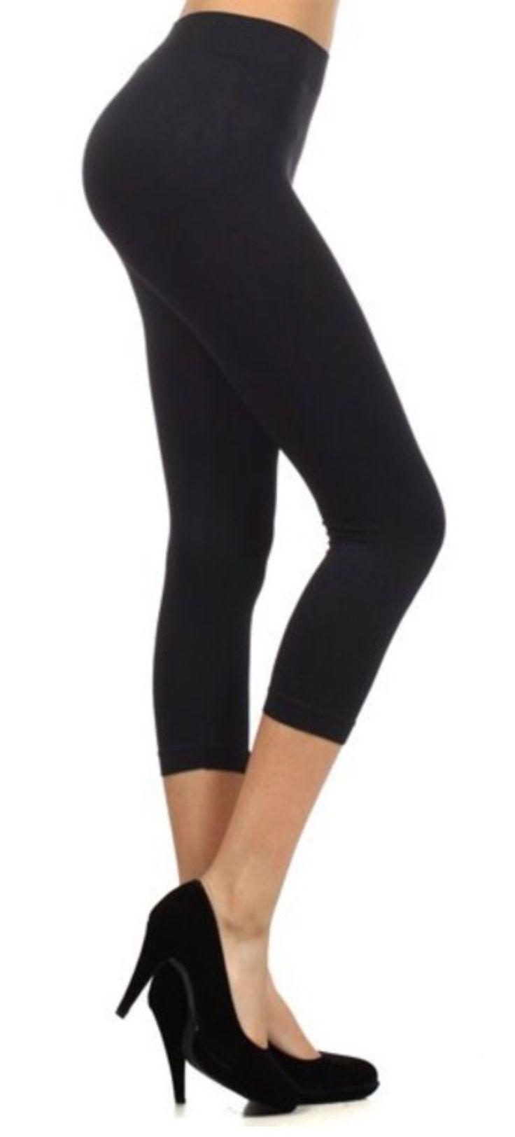Ladies SOLID BLACK Leggings Capri and Full Length, OS/PLUS