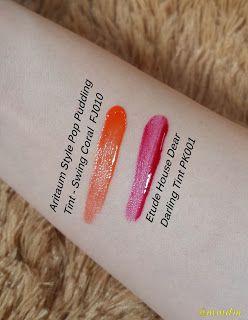 mmdm, beauty, beauty blgger, dear darling tint, dear darling, swing coral, pudding tint, tint, lip tint, aritaum, etude house, korean cosmetics, korean, kbeauty, korean beauty, lip color, makeup, pink tint, coral tint, aritaum style pop, style pop, pudding tint, swing coral, fj010, pk001, dear darling tint etude house, swatch, dear darling swatch, etude house swatch, aritaeum swatch