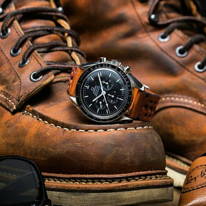 Beautiful shot of our vintage racing strap on the Omega Speedmaster from @stuffandwatches