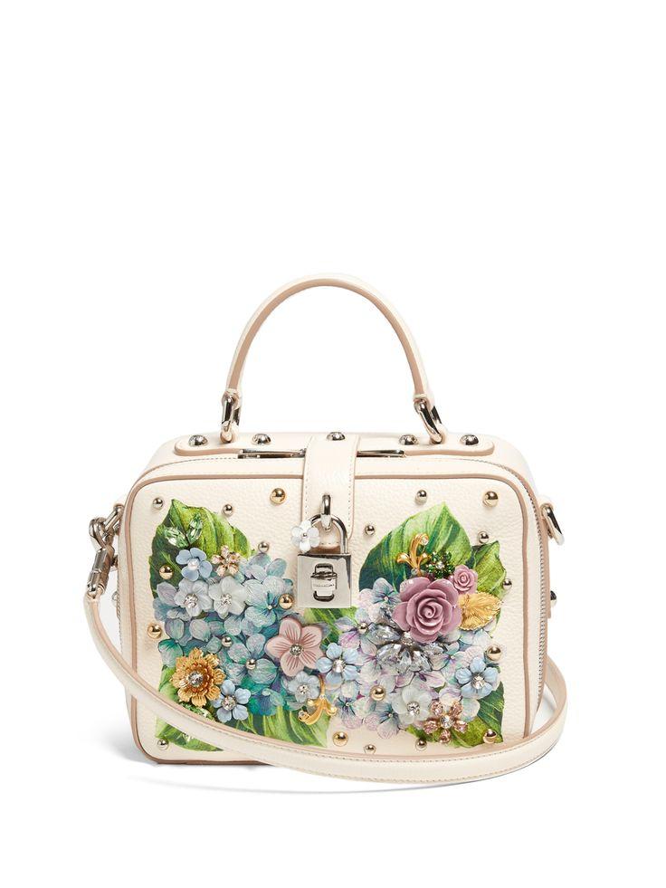 DOLCE & GABBANA Floral-embellished soft leather box bag $2,675