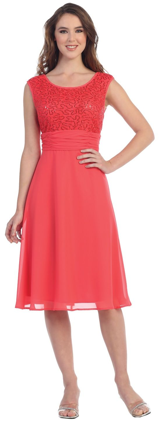 Coral Knee-Length Cocktail Dress #discountdressshop #kneelength #coral #chiffon #cocktail