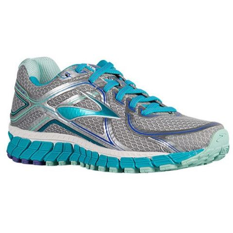 Women\u0027s Brooks Adrenaline GTS 16 stability shoe shown in Silver/Blue