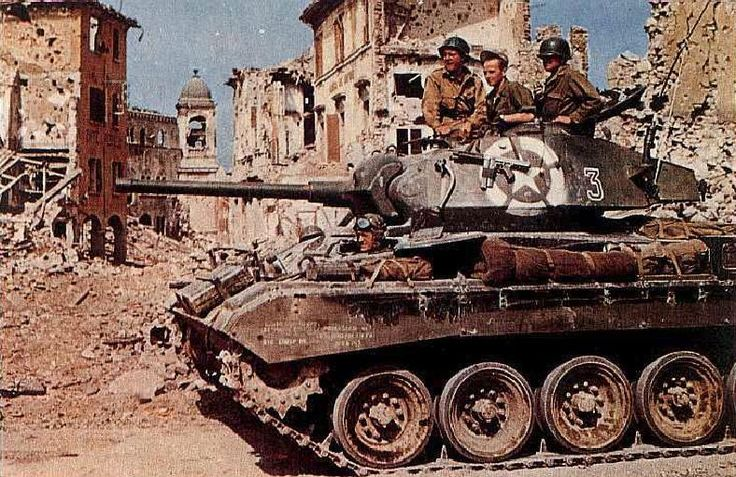 M24 Chaffee light tank of US Army 1st Armored Division in Bologna, Italy, late Apr 1945