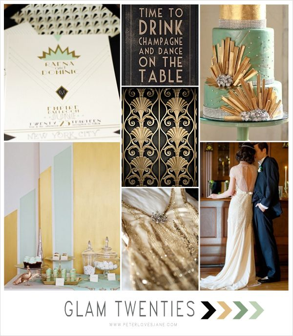Mint + Gold + Black Art Deco Wedding Inspiration