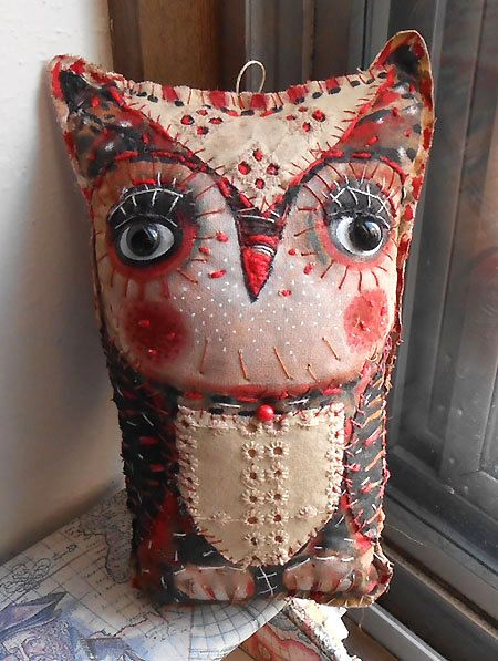 Original art doll folk art primitive    Owl with black by miliaart, $30.00