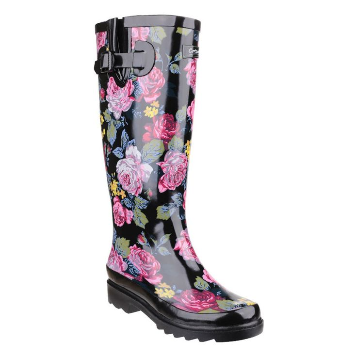 These elegant rubber Wellington Boots have an easy pull-on, adjustable strap closure. Featuring a hard wearing rubber sole and waterproof construction convenient for all types of weather. Highlighted with black gloss and multi coloured floral finish. We love its floral print!