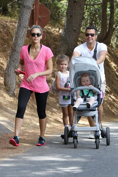 Jessica Alba and Cash Warren took their two daughters – Honor, 4, and Haven, 1 –  for a hike in Beverly Hills, Calif. on Saturday.