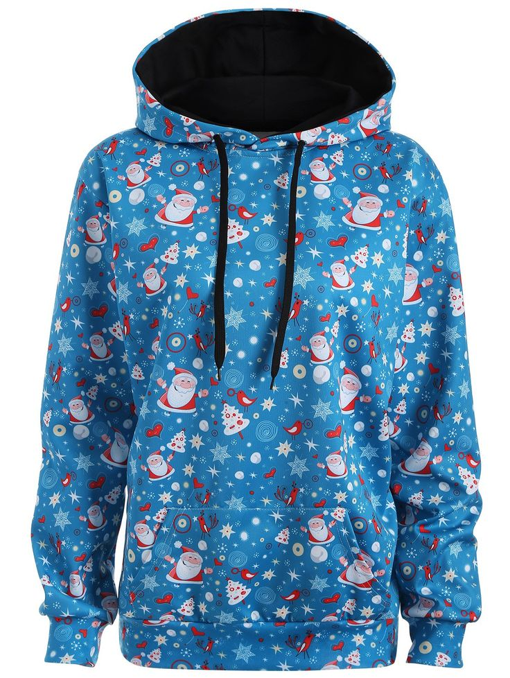$14.75 Plus Size Kangaroo Pocket Father Christmas Hoodie in Lake Blue | Sammydre…