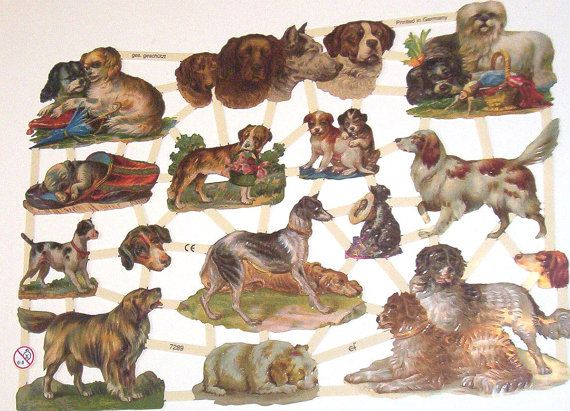 New German Victorian Cute Puppy Dogs Animals Pets Scrap sheet Diecuts Die cuts for crafts scrapbooking framing EF 7289 embossed paper crafts