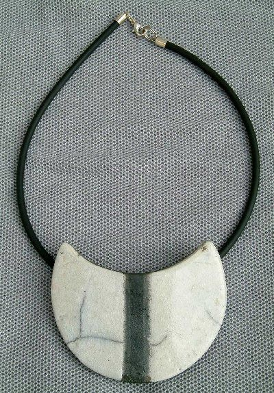 Raku pendant - is this a circle folded in half? almost like a fortune cookie!